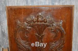 Antique French Carved Wood Cabinet Door Panel Figural Dragons Gargoyles Griffins