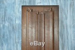 Antique French Carved Wood Linen Fold Architectural Cabinet Panel Pediment