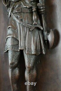 Antique French Carved Wood Wall Panel of Gaulish King Knight Man