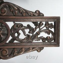 Antique French Carved Wooden Panel Cutwork, Lions Head, Dolphins, Leaves, Shell