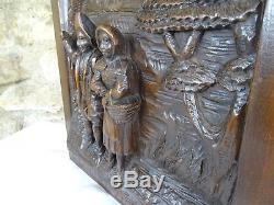 Antique French Deep Carved Architectural Panel Door Solid Walnut Wood a Couple