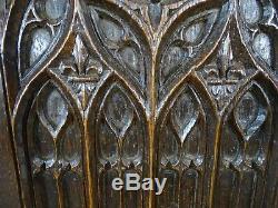 Antique French Gothic Revival Panel Carved Oak Wood Salvage Fleur de Lys