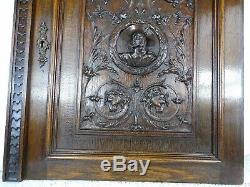 Antique French Hand Carved Oak Wood Architectural Cabinet Door Panel Musketeer
