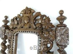 Antique French Hand Carved Oak Wood Openwork Panel Black Forest Frame Mirror