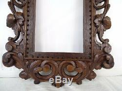 Antique French Hand Carved Oak Wood Openwork Panel/Frame Black Forest Mirror