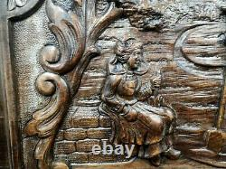 Antique French Hand Carved Wooden Panel Peasants Coulple