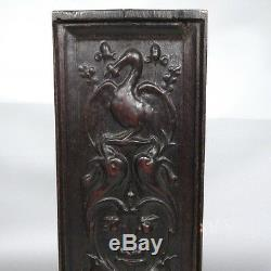 Antique French Hand Carved Wooden Panel, Pelican, Birds & Dolphins