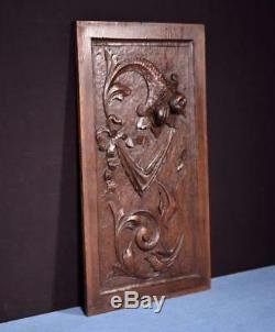 Antique French Highly Carved Panel in Oak Wood Salvage withFlowers