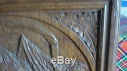 Antique French Hunting Style Carved Panel in Solid Oak Wood riders and falcon