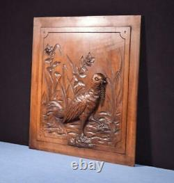 Antique French Hunting Style Carved Panel in Solid Walnut Wood withBird Salvage 2