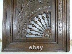 Antique French Large Carved Wood Door Wall Panel Solid Oak Breton Brittany