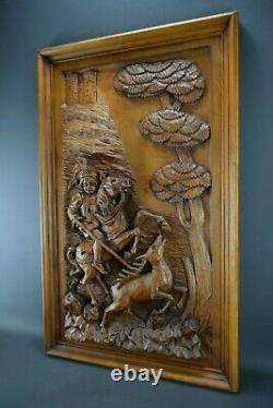 Antique French Large Hand Carved Wood Wall Panel Hunting Stag Horse Chateau