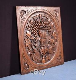 Antique French Louis XVI Style Carved Panel in Oak Wood with Basket