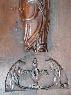 Antique French PANEL 28 TALL SAINT WOMAN CARVED OAK WOOD 1800s. 19thC