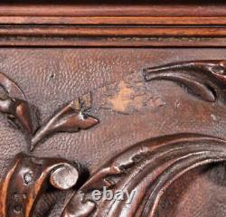 Antique French Panel in Solid Walnut Wood Highly Carved
