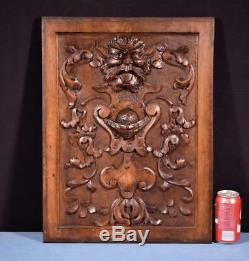 Antique French Panel in Solid Walnut Wood with Face Highly Carved