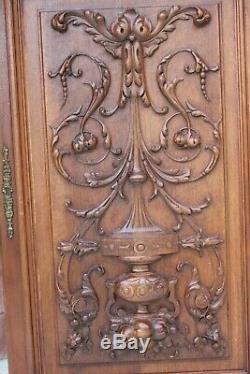 Antique French Vintage Carved cupboard door panel, from vintage sideboard