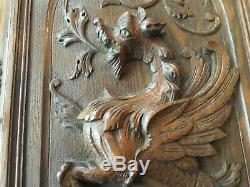 Antique French Wood panel door carved chimera griffin gargoyle mythology Buffet