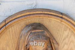 Antique French oak wood carved religious medaillon panel Madonna relief