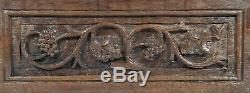 Antique Gothic Revival Pair of Panels Hand Made Sculptured Oak Carved Salvage