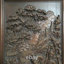 Antique Hand-Carved 15x26.25 Wood Panel Horsemen Hunting Lion Outside Castle EUC