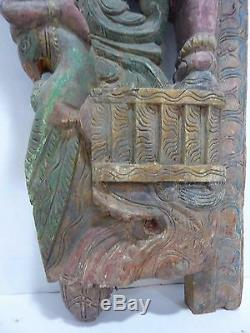 Antique Hand Carved Asian Wood Art Panel figural Dragon Bird Horse Rider ornate