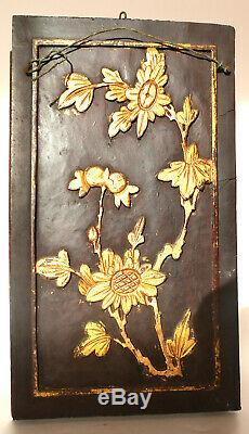 Antique Hand Carved Chinese Gilt Wood Panel Early 19th Century Wall Plaque