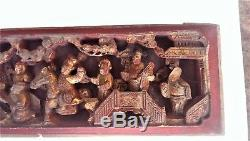 Antique Hand Carved Chinese Lacquer Gilt Wood Figures Sculpture Panel 19thC