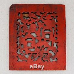 Antique Hand Carved Chinese Wood Panel Red Lacquer Fruit Longevity Symbol