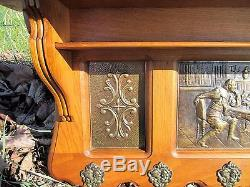 Antique Hand Carved Oak Coat Hat Rack Wood Brass Panels Gorgeous
