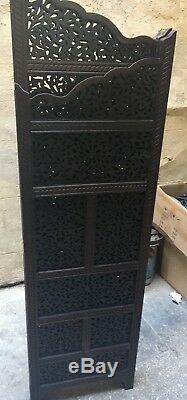 Antique Handmade 4 Panel Carved Wood Room Divider Screen