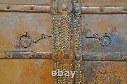 Antique Hard Teak Wood Big Size Door Panel Pair Original Old Hand Carved Painted