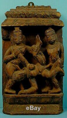 Antique Indian Hindu Temple Carved Wood Sexually Explicit Panel