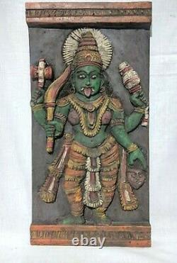 Antique Kali Devi Wall Hanging Panel Hand Carved Wooden Durga Idol Temple Art