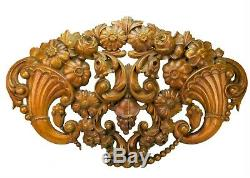 Antique Large Carved Panel Cornucopia Shield Flower Grapes Wall Mantle Hanging
