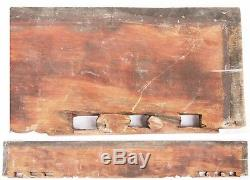 Antique Long Chinese Qing Carved Wood Panel Gold Gilt People Temple China Old