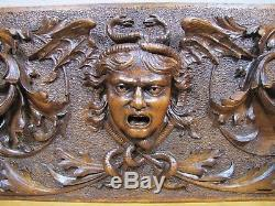 Antique MEDUSA WINGED SERPENTS DRAGONS Decorative Art Hand Carved Wooden Panel
