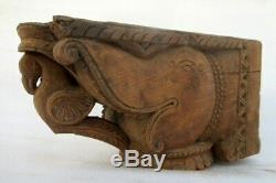 Antique Old Rare Wooden Hand Carving Lion Bird Figure Heavy Wall Bracket Panel