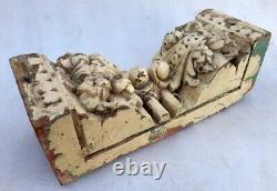 Antique Old Wood Fine Deep Carved Unique Figure Rare Bracket Wall Panel Plaque