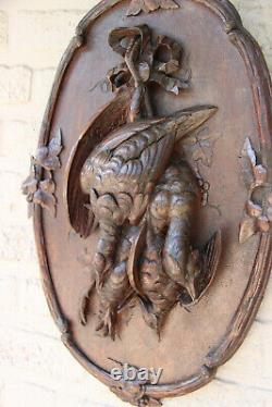 Antique PAIR Black Forest swiss wood carved hunting trophy wall panel deer bird