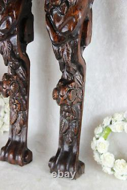 Antique PAIR French wood carved putti Angel panels cabinet parts baroque