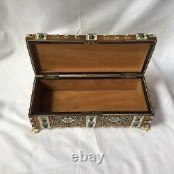 Antique Persian Middle Eastern Wood Box Decorated Hand Carved Bovine Bone Panels