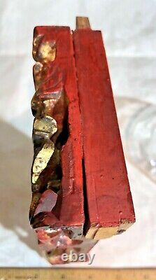 Antique Qing Dynasty Chinese Hand Carved Gilt Wood Panel 7 Men Gold Gilt 7