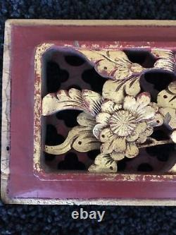 Antique Red Lacquer & Gilt CHINESE CARVED PANEL Bird & Flowers