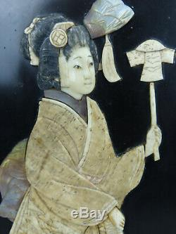 Antique Signed Shibayama Japanese Lacquer with Carved Figures Menji Panel