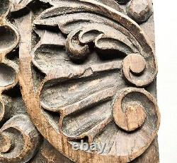 Antique Spanish Colonial Baroque Carved Wood Panel, Rustic Primitive Decor 12