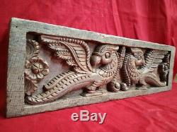 Antique Temple Wall Panel Peacock Yali Wooden Hand carved Door panel Home Decor
