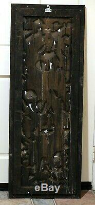 Antique Thai Dark Golden Hand Carved Wood Panel & Frame Masterful 53 X 20