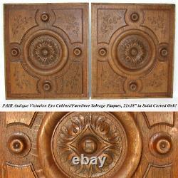 Antique Victorian Carved Oak 21 Furniture or Cabinet Door Panel PAIR, Plaque