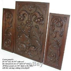 Antique Victorian Carved Wood 3pc 25 & 22 Cabinet Panel Set, Neo-Renaissance